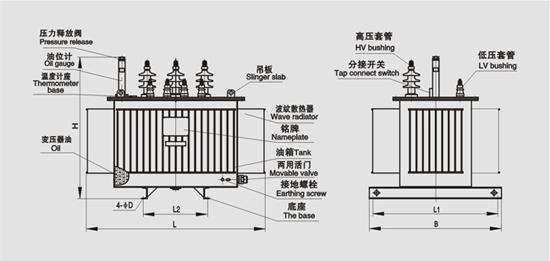 油浸式变压器原理图_S11-315kva油浸式变压器型号结构图_北京创联汇通电气